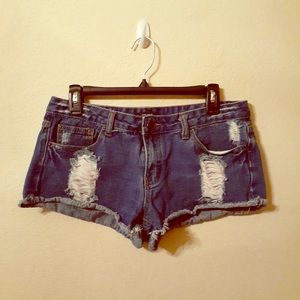Very Short Jean Shorts with Distress